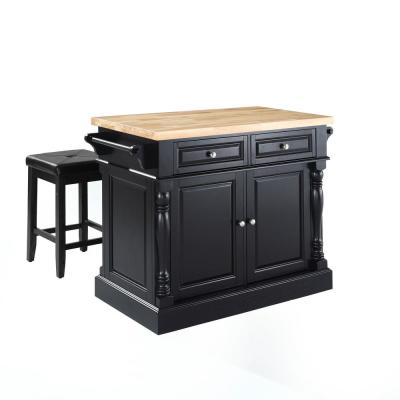 Oxford Black Kitchen Island with Square Seat Stools
