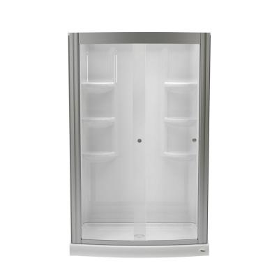 Ovation 33.5 in. x 48 in. x 75.25 in. Combo 5-Piece Shower Kit in Arctic and Brushed Nickel