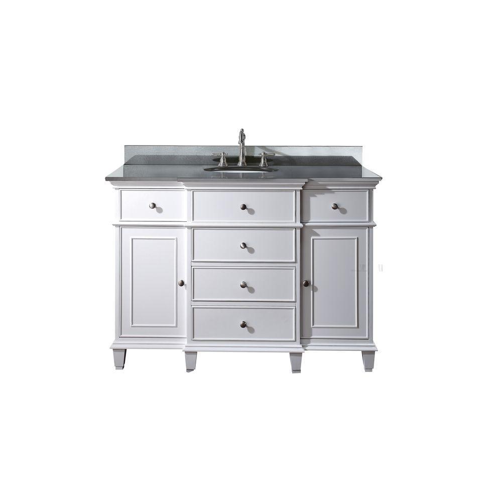 Windsor 49 in. W x 22 in. D x 35 in. H Vanity in White with Granite Vanity Top in Black and White Basin