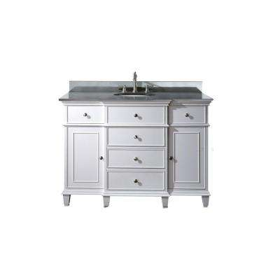 Windsor 49 in. W x 22 in. D x 35 in. H Vanity in White with Granite Vanity Top in Black and White Basin