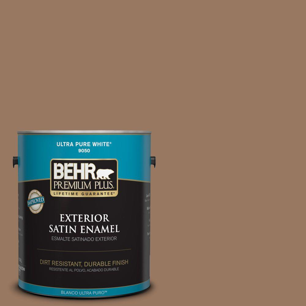BEHR Premium Plus 1-gal. #ECC-40-3 Seasoned Acorn Satin Enamel Exterior Paint