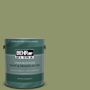 Behr Ultra 1 Gal 410f 5 Boston Fern Semi Gloss Enamel Interior Paint And Primer In One 375301 The Home Depot