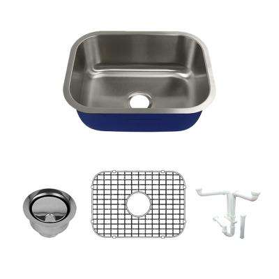 Meridian All-In-One Undermount Stainless Steel 23.125 in. Single Bowl Kitchen Sink in Brushed Stainless Steel