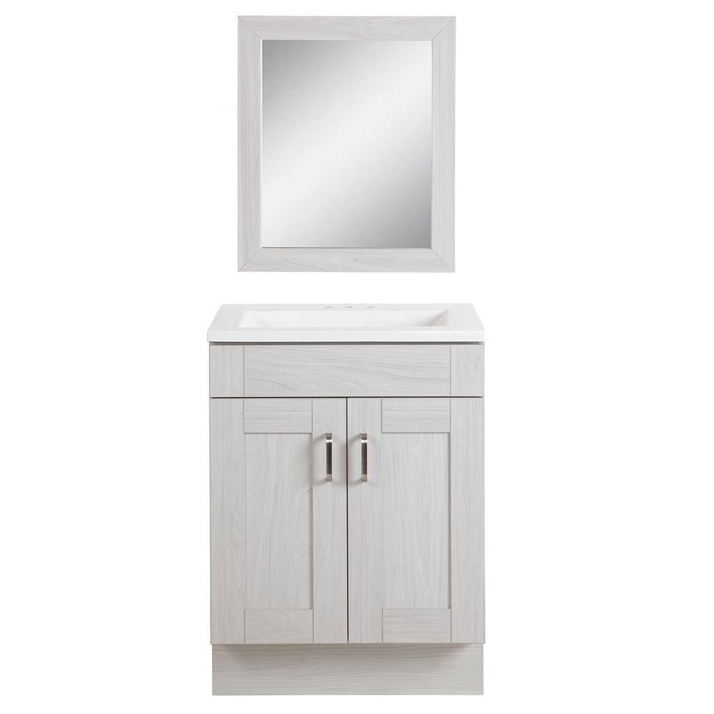 Glacier Bay Arla 24 in. Bathroom Vanity in Elm Sky with Cultured Marble Vanity Top in White with White Sink and Mirror