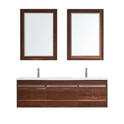 Thomas 60 in. W x 18 in. D Bath Vanity in Walnut with Quartz Vanity Top in White with White Basins and Mirrors