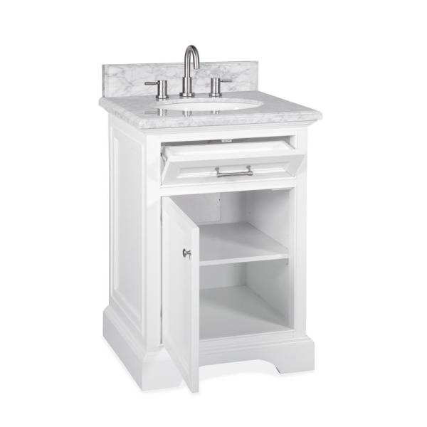 Home Decorators Collection Windlowe 25 In W X 22 In D X 35 In H Bath Vanity In White With Carrera Marble Vanity Top In White With White Sink 15101 Vs24c Wt The Home Depot