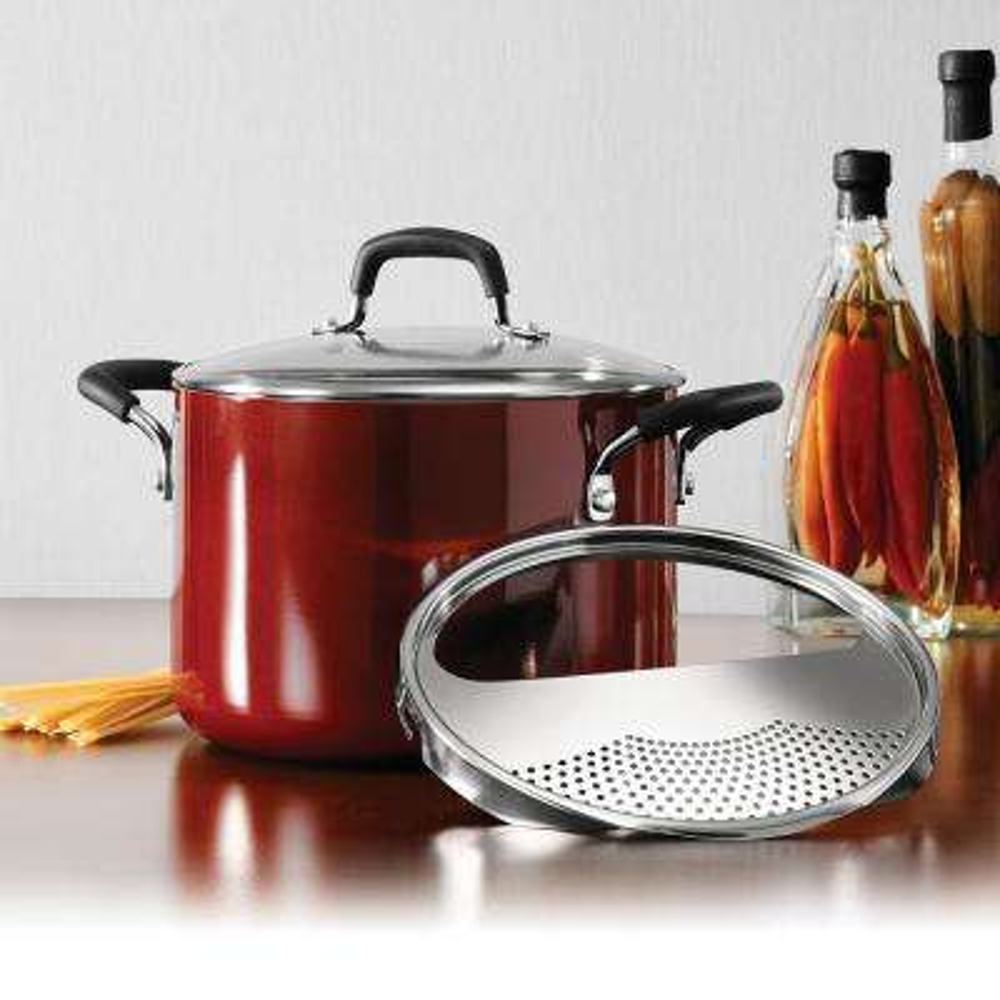 Gourmet 6 Qt. Nonstick Aluminum Lock-N-Drain Pasta Pot with Lid in Red Rhubarb