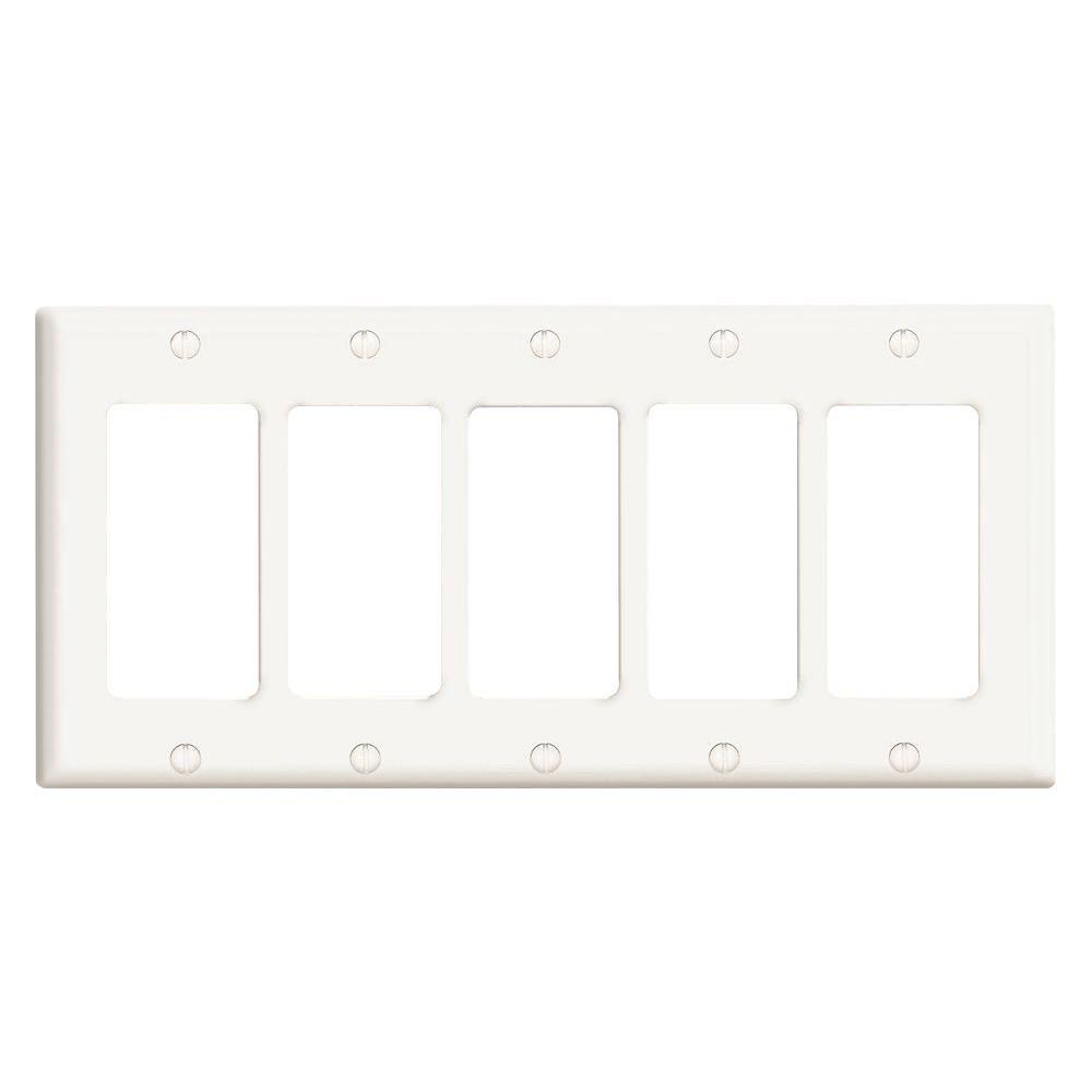 Leviton Decora 5-Gang Wall Plate, White