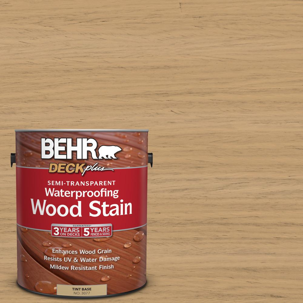 BEHR DECKplus 1 gal. #ST-127 Beach Beige Semi-Transparent Waterproofing Wood Stain