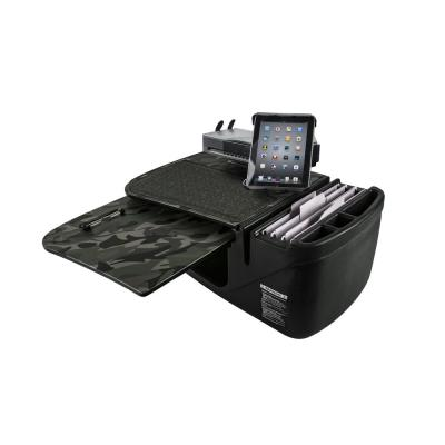 GripMaster Green Camouflage Car Desk with Built-In Power Inverter, iPad/Tablet Mount and Printer Stand