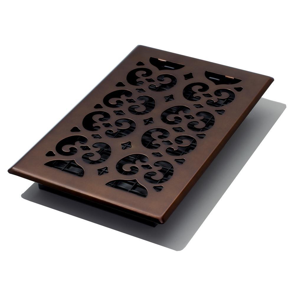 6 in. x 10 in. Scroll Rub Bronze Floor Register