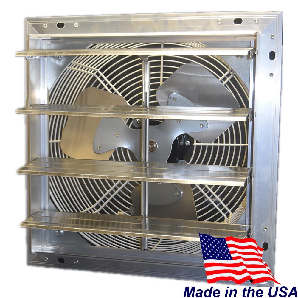 Hessaire 12 in. 900 CFM Power Shutter Mounted 3-Speed Exhaust Fan