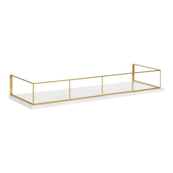 Kate And Laurel Benbrook 24 In X 4 In X 8 In White Gold Decorative Wall Shelf 216490 The Home Depot