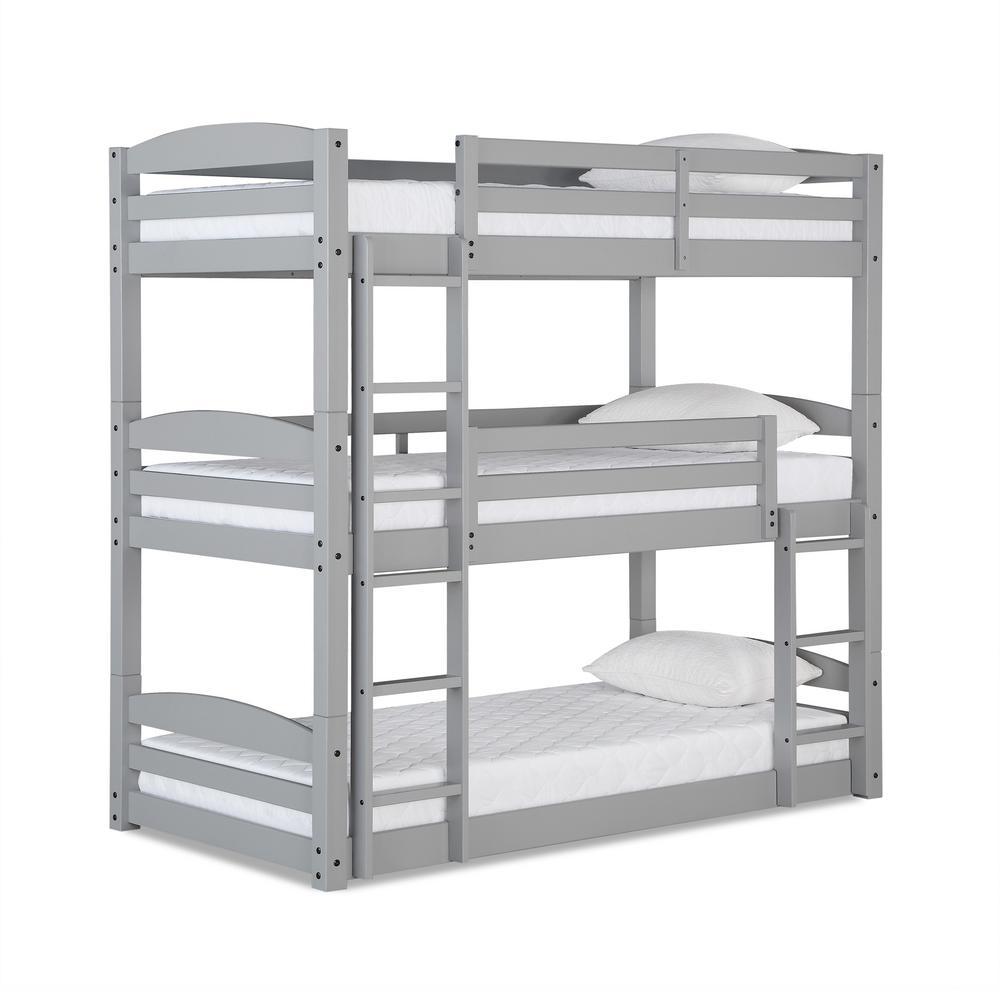 Noma Gray Twin Triple Floor Bunk Bed
