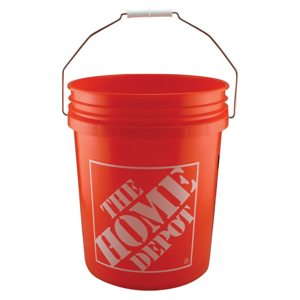 The Home Depot 5 gal. HD Bucket in Orange (Pack 300) Use the 5 gal. Orange Homer Bucket to haul parts, paint, topsoil and other household and work-site items. Made from durable 0.70 mil HDPE plastic, you will get a lot of use out of the bucket. This orange, plastic bucket holds up to a 9 in. bucket grid and features the orange Home Depot logo on its side.