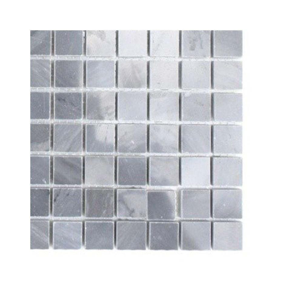 Splashback Tile Dark Bardiglio Squares Marble Floor and Wall Tile - 6 in. x 6 in. Tile Sample-DISCONTINUED