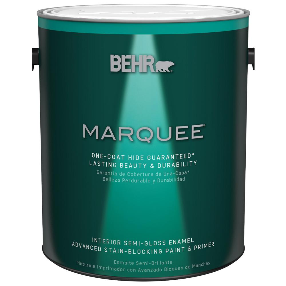 BEHR MARQUEE 1 Gal. Ultra-Pure White Semi-Gloss Enamel Interior Paint with Primer