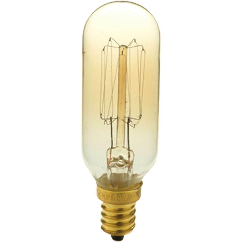 Progress lighting 40 watt t8 e12 candelabra base vintage amber light bulb p7826 01 the home depot Cost of light bulb