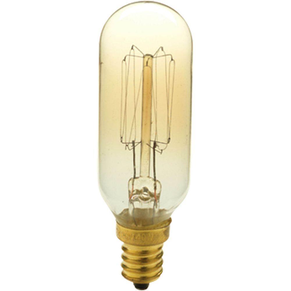 40-Watt T8 E12 Candelabra Base Vintage Amber Light Bulb
