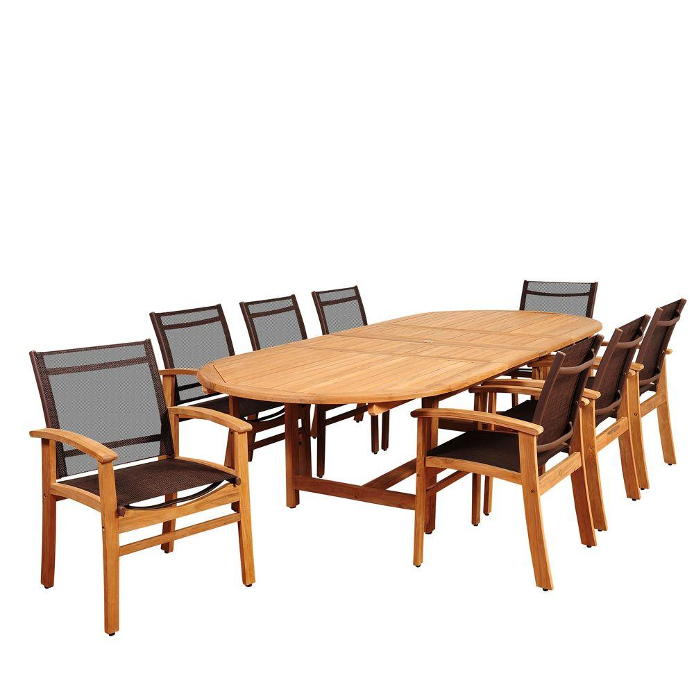 Amazonia Elliot 9-Piece Teak Double Extendable Oval Patio Dining Set with Brown Sling Chairs