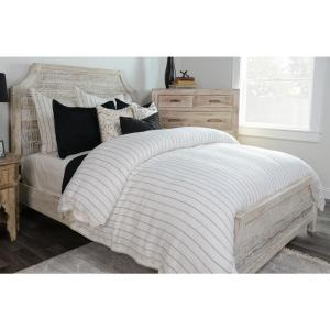 Monaco Ivory Striped Queen Linen Duvet Cover