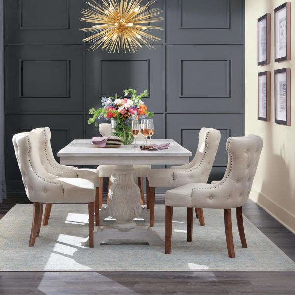 Home Decorators Collection Kingsley Sandblasted White Dining Table-9690200980 - The Home Depot