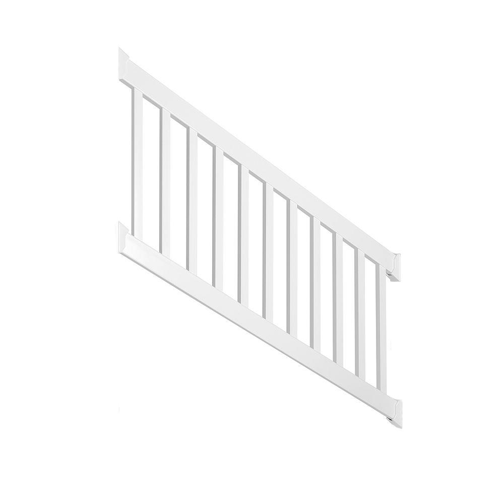 Weatherables walton 3 ft h x 72 in w white vinyl stair railing kit wwr thdw36 s6s the home depot - Vinyl railing reviews ...