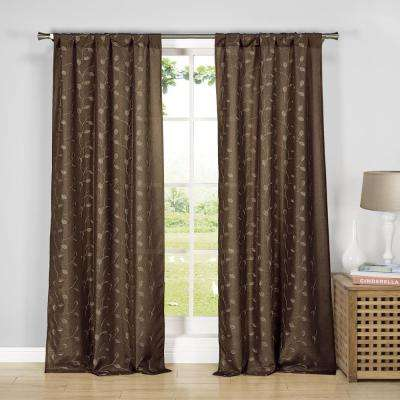 Kiralee 38 in. W x 84 in. L Polyester Window Panel in Chocolate
