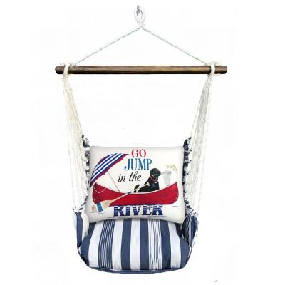 3-Piece Wood Polyester Cushioned Porch Swing with Jump in the River Print Back Pillow