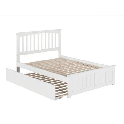 Mission Full Platform Bed with Matching Foot Board with Full Size Urban Trundle Bed in White
