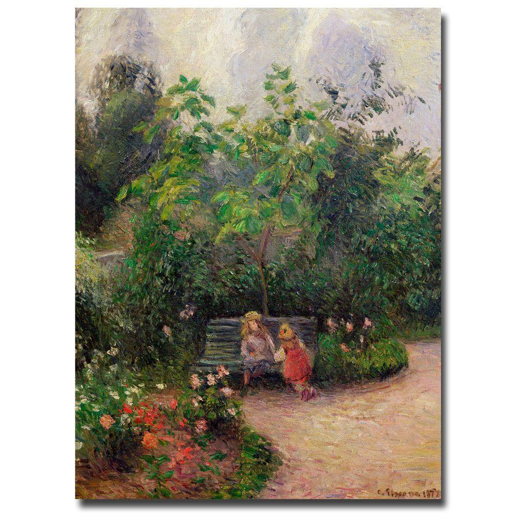 null 18 in. x 24 in. Gardern at the Hermitage, Pontoise, 1877 Canvas Art