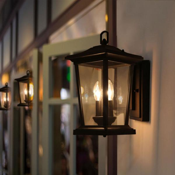 Lnc 2 Light Candle Style Black Outdoor Wall Lantern Sconce Porch Light With Clear Glass A03278 The Home Depot