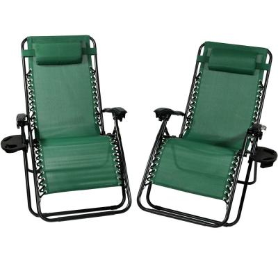 Oversized Forest Green Zero Gravity Sling Patio Lounge Chair with Cupholder (2-Pack)
