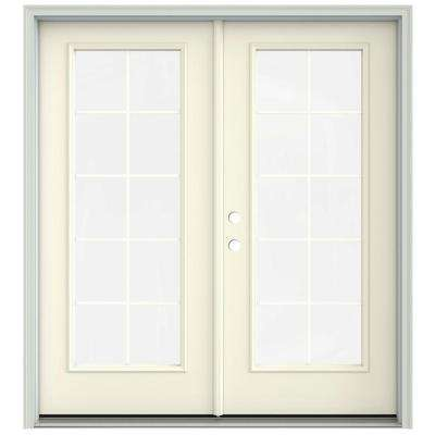 72 in. x 80 in. French Vanilla Prehung Right-Hand Inswing 10 Lite French Patio Door with Brickmould