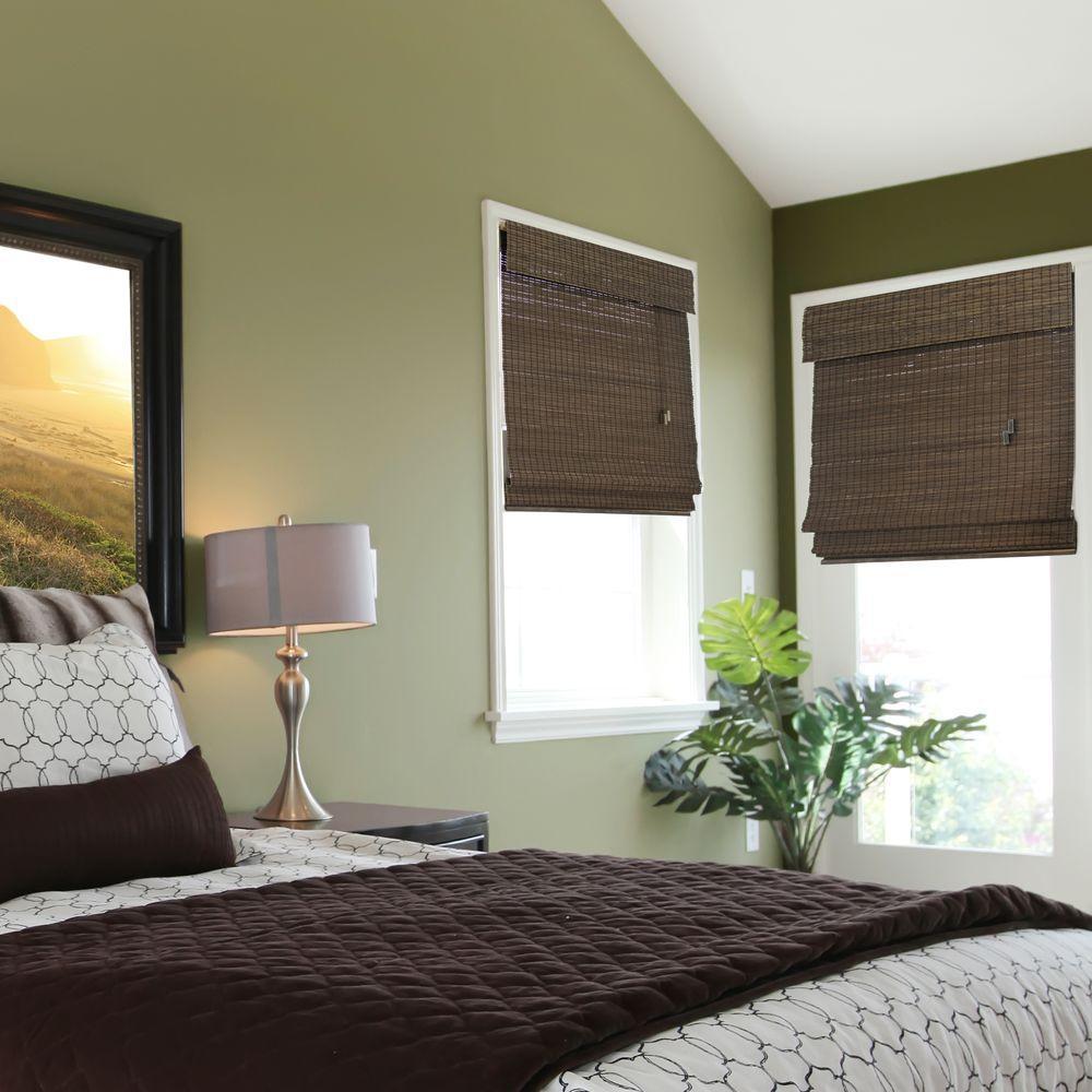 Home Decorators Collection Espresso Flat-Weave Bamboo Roman Shade - 35 in. W x 72 in. L