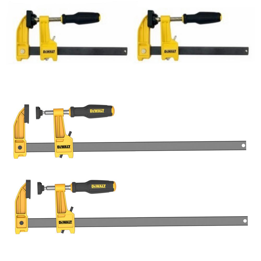 dewalt 12 in. and 6 in. 600 lb. bar clamps (4-pack) w/2.5 in. throat depth