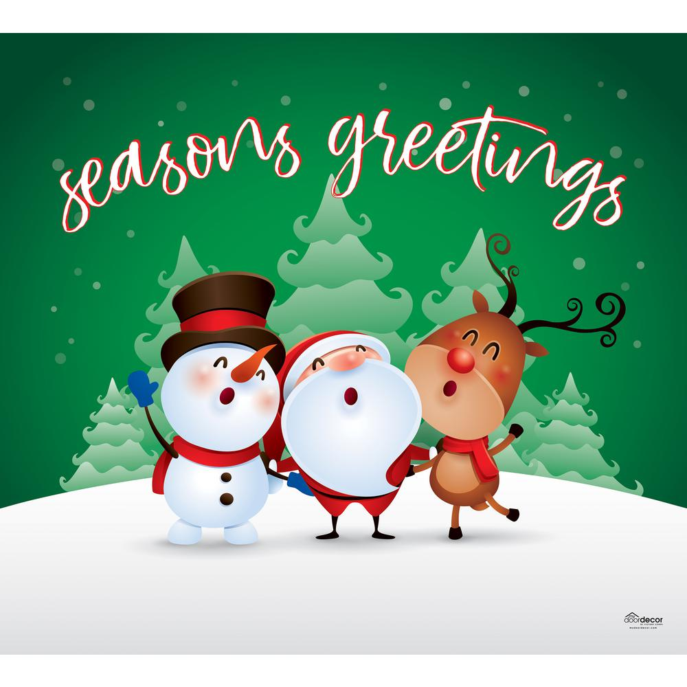 My Door Decor 7 ft. x 8 ft. Christmas Characters Seasons  Greetings,Christmas Garage Door Decor Mural for Single Car Garage