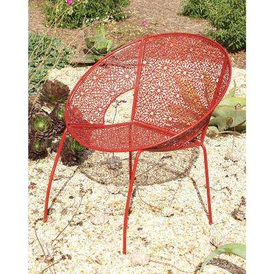 30 in. x 27 in. Modern Iron Red Garden Chair