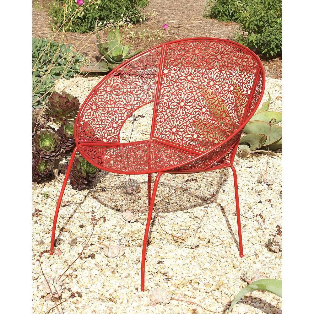 30 in. x 27 in. Modern Iron Red Garden Chair