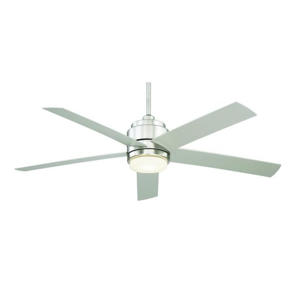 54 in. Tier Integrated LED Indoor/Outdoor Brushed Nickel Downrod Mount Ceiling Fan with Remote Control
