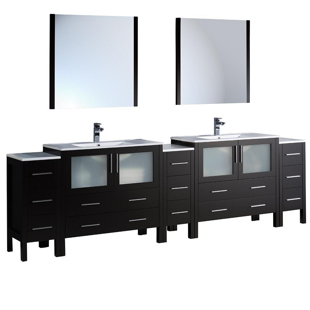 Fresca Torino 108 in. Double Vanity in Espresso with Ceramic Vanity Top in White with White Basins and Mirrors