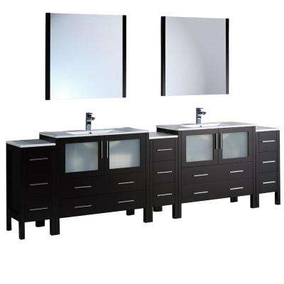 Torino 108 in. Double Vanity in Espresso with Ceramic Vanity Top in White with White Basins and Mirrors