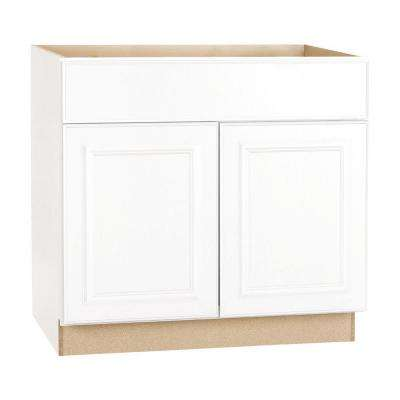 Hampton Assembled 36x34.5x24 in. Base Kitchen Cabinet with Ball-Bearing Drawer Glides in Satin White