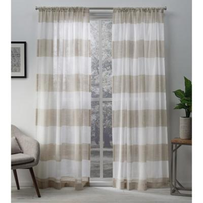 Darma 50 in. W x 96 in. L Sheer Rod Pocket Top Curtain Panel in Linen (2 Panels)