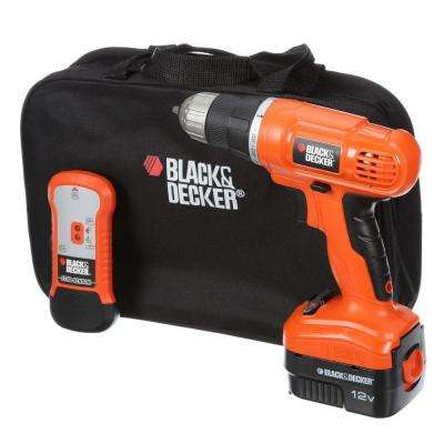 12-Volt NiCd Cordless Drill with Stud Sensor and Storage Bag with Battery 1.5Ah, Charger and Kit Bag