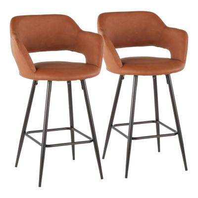 Margarite 26 in. Brown Faux Leather Upholstery Counter Stool (Set of 2)