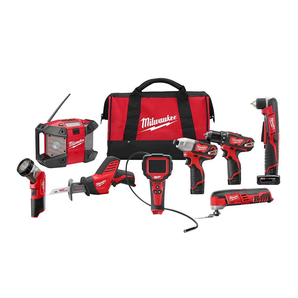 Milwaukee M12 12-Volt Lithium-Ion Cordless Combo Tool Kit (8-Tool) w/(2) 1.5Ah and (1) 3.0Ah Batteries, (1) Charger, (1) Tool Bag