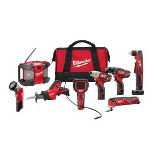 Milwaukee M12 12-Volt Lithium-Ion Cordless Combo Tool Kit (8-Tool) w/(2) 1.5Ah and (1) 3.0Ah Batteries, (1)... by Milwaukee