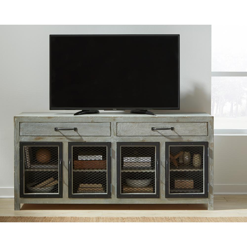 Scottsdale 72 in. Seasalt Wood TV Stand with 2 Drawer Fits TVs Up to 80 in. with Storage Doors