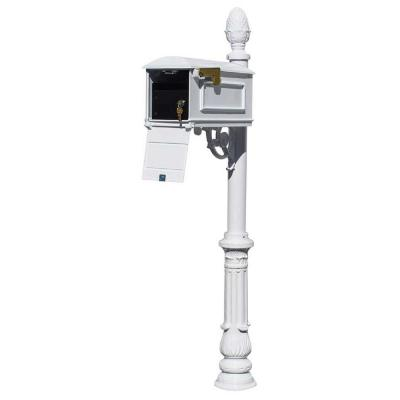 Lewiston White Post Mount Locking Insert Mailbox with decorative Ornate Base and Pineapple Finial